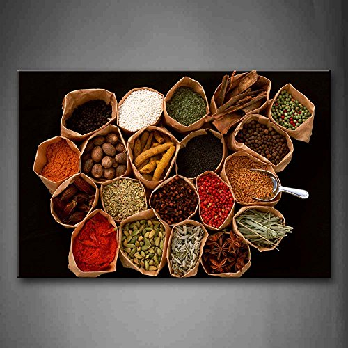First Wall Art – Brown Various Colorful Herbs And Spices Wall Art Painting The Picture Print On Canvas Food Pictures For Home Decor Decoration Gift