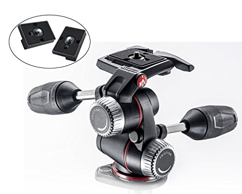 Manfrotto MHXPRO-3W X-PRO 3-Way Head with Retractable Levers and Friction Controls and Two ZAYKIR Quick Release Plates (Pro 3 Way)