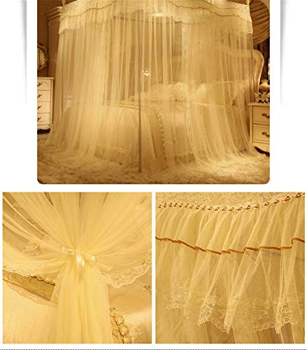 Mosquito net Bedroom Single Bed Gauze Three Door Home Princess Room Floor-Standing Stainless Steel Bracket Decorative Tent, Yellow, 1.8M by Lostryy-Mosquito Nets Baby (Image #5)