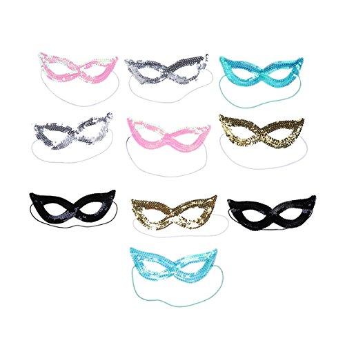 Toyvian 12Pcs Mardi Gras Masks Sequin Masquerade Party Masks Carnival Costume Masks Props Party Favors