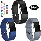Replacement Bands for Fitbit Charge 2, 3-Pack Fitbit Charge2 Wristbands, Large, Black, Sea Blue, Gray