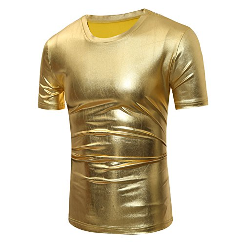 Gold T-shirt (Men Metallic T Shirt Tee Slim Fit Round Neck Short Long Sleeve FMK001GOLXL)