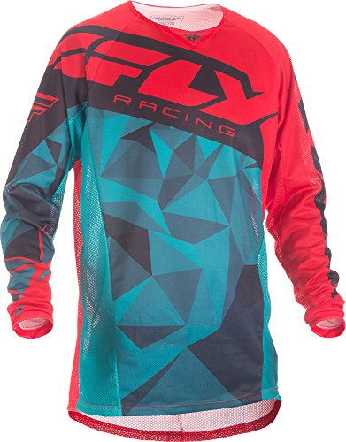 Fly Racing Unisex-Adult Kinetic Mesh Jersey (Teal/Red/Black, Small)