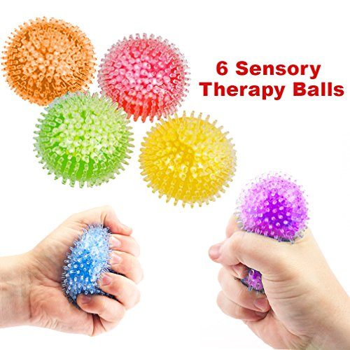 Mr. E=mc2 Sensory Balls Super 6 Pack | Squeeze Ball For Kids and Adults | Stress Balls | Optimal Fidget Toy for Autism, ADHD, Therapy, Anxiety Relief | Travel, School, (Sensory Integration Therapy Toys)
