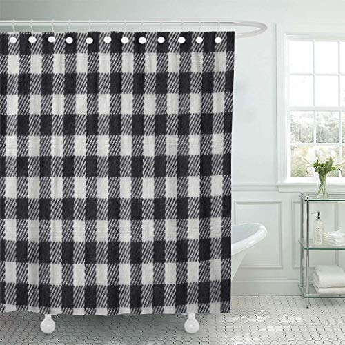 Emvency Fabric Shower Curtain with Hooks Blue Buffalo Black and White Gingham Checked Knitted Pattern Check Checkered Clean Flat 60