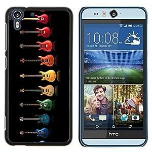 Eason Shop / Premium SLIM PC / Aliminium Casa Carcasa Funda Case Bandera Cover - Música colorido del arco iris Música Negro - For HTC Desire Eye ( M910x )