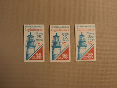 USPS Scott 2470-74 25c Lighthouse 3 Books 1990 60 Stamps Mint Booklet