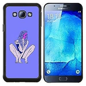 KLONGSHOP // Cubierta de piel con cierre a presión Shell trasero duro de goma Protección Caso - Stripper Muerte Púrpura mujer Piernas - Samsung Galaxy A8 A8000 //