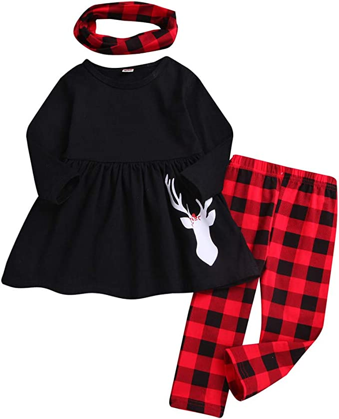 Baby Christmas Outfit Set Boys Girls 0-4 Years Deer Print Solid Dress Soft Pant Clothes Set Plaid Scarf