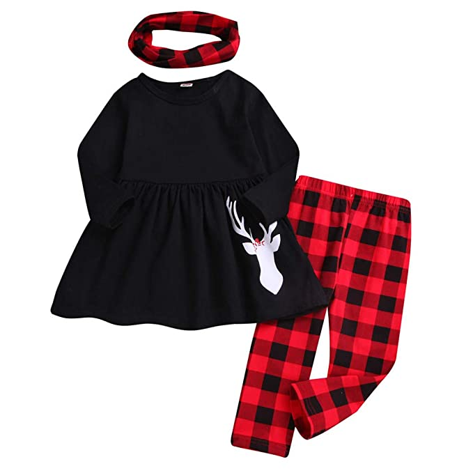 6f026efe5 Baby Girls Deer T-Shirt Top Dress Plaid Pants Scarf Christmas Outfit Set:  Amazon.ca: Clothing & Accessories