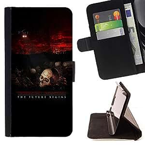 BullDog Case - FOR/Samsung Galaxy S4 IV I9500 / - / Terminator Skull Robot /- Monedero de cuero de la PU Llevar cubierta de la caja con el ID Credit Card Slots Flip funda de cuer