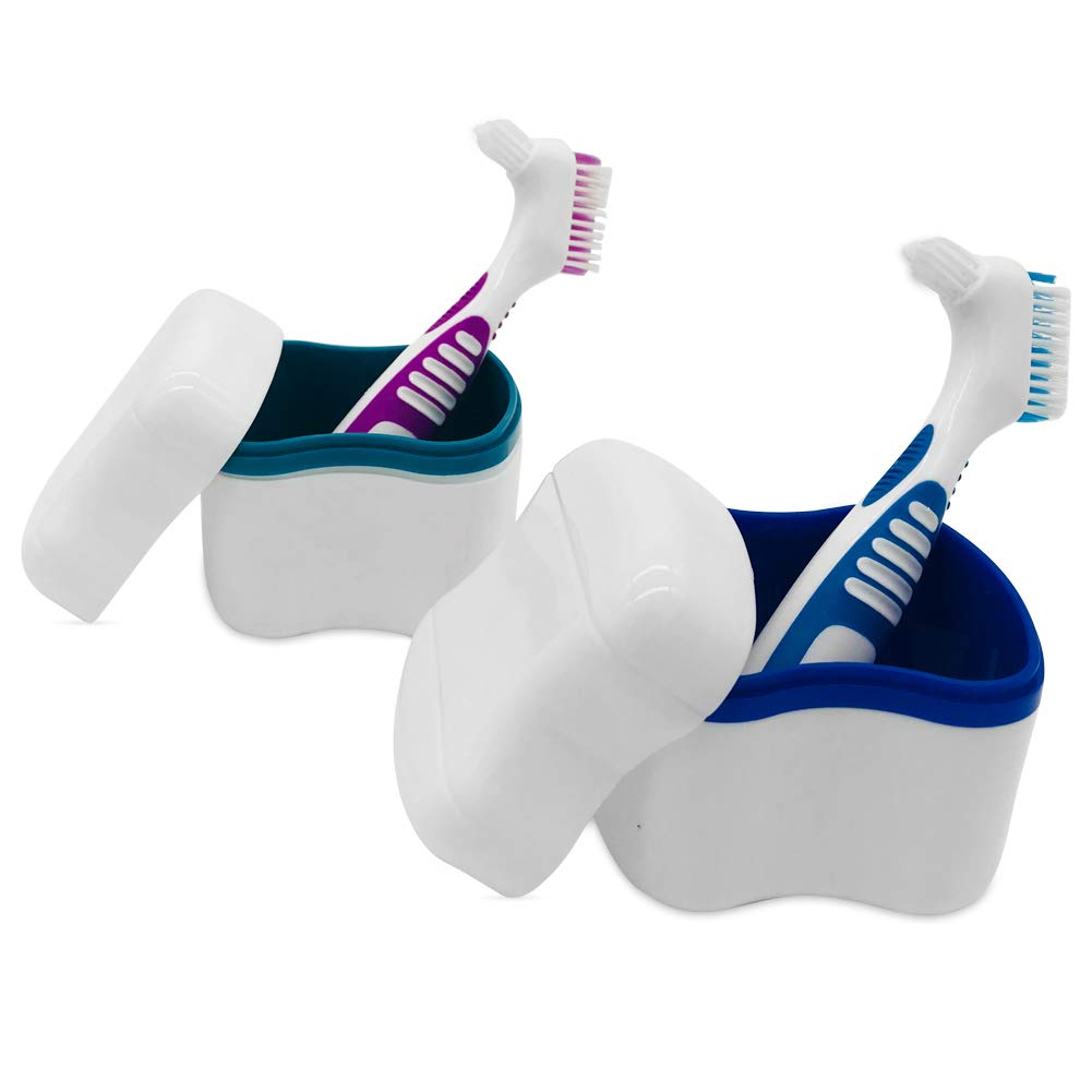 2 Denture Bath Cases with 2 Denture Cleaner Brushes, Denture Holder Brush Retainer Case, Dentures Container with Removable Strainer Basket Holder : Beauty
