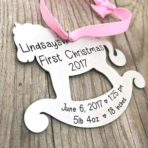 Rocking Horse Christmas Ornament - Personalized Baby Birth Stats - Baby's First Christmas - 1434