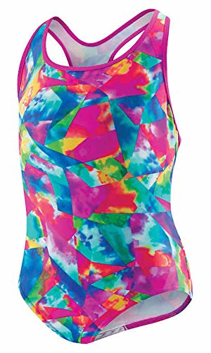 (Speedo Girls Tie Dye Sky Racerback One Piece Swimsuit Multi Size 8)