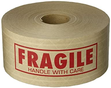 tapecase fragile printed kraft water activated tape 3 x 450 1