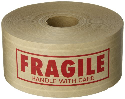 TapeCase'FRAGILE' Printed Kraft Water Activated Tape 3' x 450' (1 Roll)
