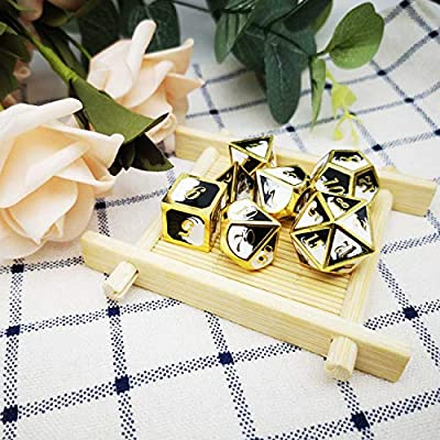 Haxtec Metal Dice Set D&D Gold Black White Metal DND Dice for Dungeons and Dragons RPG Games: Toys & Games