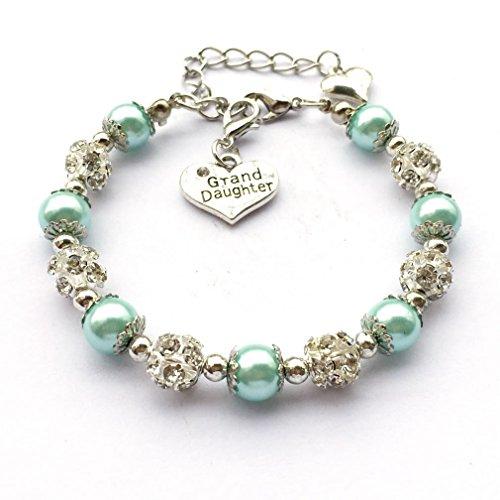 DOLON Light Blue Faux Pearl Beaded Girls Charm Bracelet Jewelry for Granddaughter