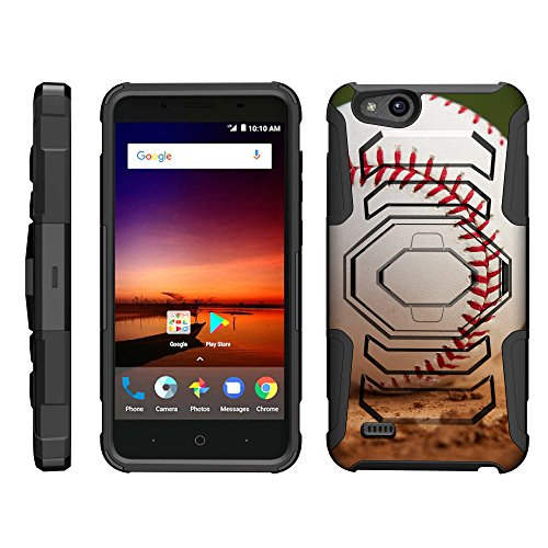 TurtleArmor | Compatible for ZTE Avid 4 Case | ZTE Tempo X | Blade Vantage [Octo Guard] Heavy Impact Case Tough Hard Kickstand Belt Clip Holster Sports and Games Design - Baseball Dirt