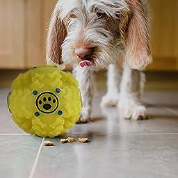 KINREX Dog Treat Ball Interactive Food Dispensing Yellow Dog Toy 4\