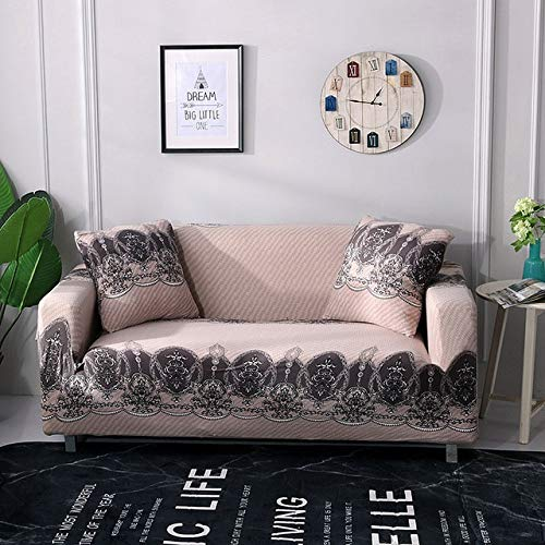 Printing Flower bluee Sofa Cover Sentional Elastic Couch Covers for Home Furniture Decoration Non-Slip Fleece Soft cubre Sofa   LiaoRao, Four Seater