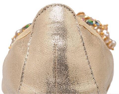 PPXID toe Pumps Glittery Foldable Rhinestone Women's B Gold Flat Pointed 77qwvxU