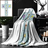 Unique Custom Double Sides Print Flannel Blankets Baptism Decorations Baptismal Cross Bible Faith Believing Greeting Welcoming Baptize B Super Soft Blanketry for Bed Couch, Twin Size 60 x 70 Inches