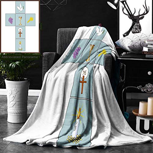 Unique Custom Double Sides Print Flannel Blankets Baptism Decorations Baptismal Cross Bible Faith Believing Greeting Welcoming Baptize B Super Soft Blanketry for Bed Couch, Twin Size 60 x 70 Inches by Ralahome