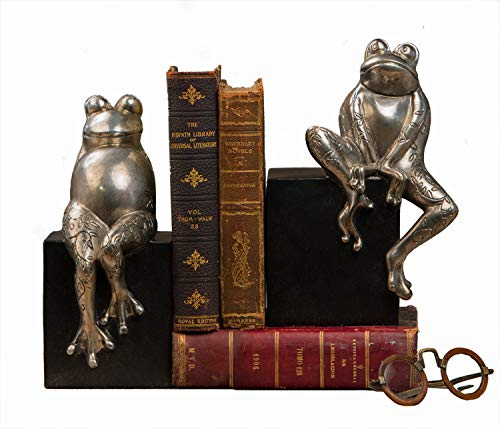 KensingtonRow Home Decor Collection Bookends - Fanciful Frog Bookends - Frog Book Ends - Antique Silver Finish