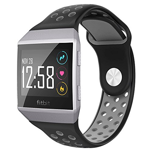 NO1seller Top Bands Compatible for Fitbit Ionic Small Large, Soft Silicone Sport Strap Accessories with Ventilation Holes Replacement Wristband for Fitbit Ionic Smartwatch Women ()