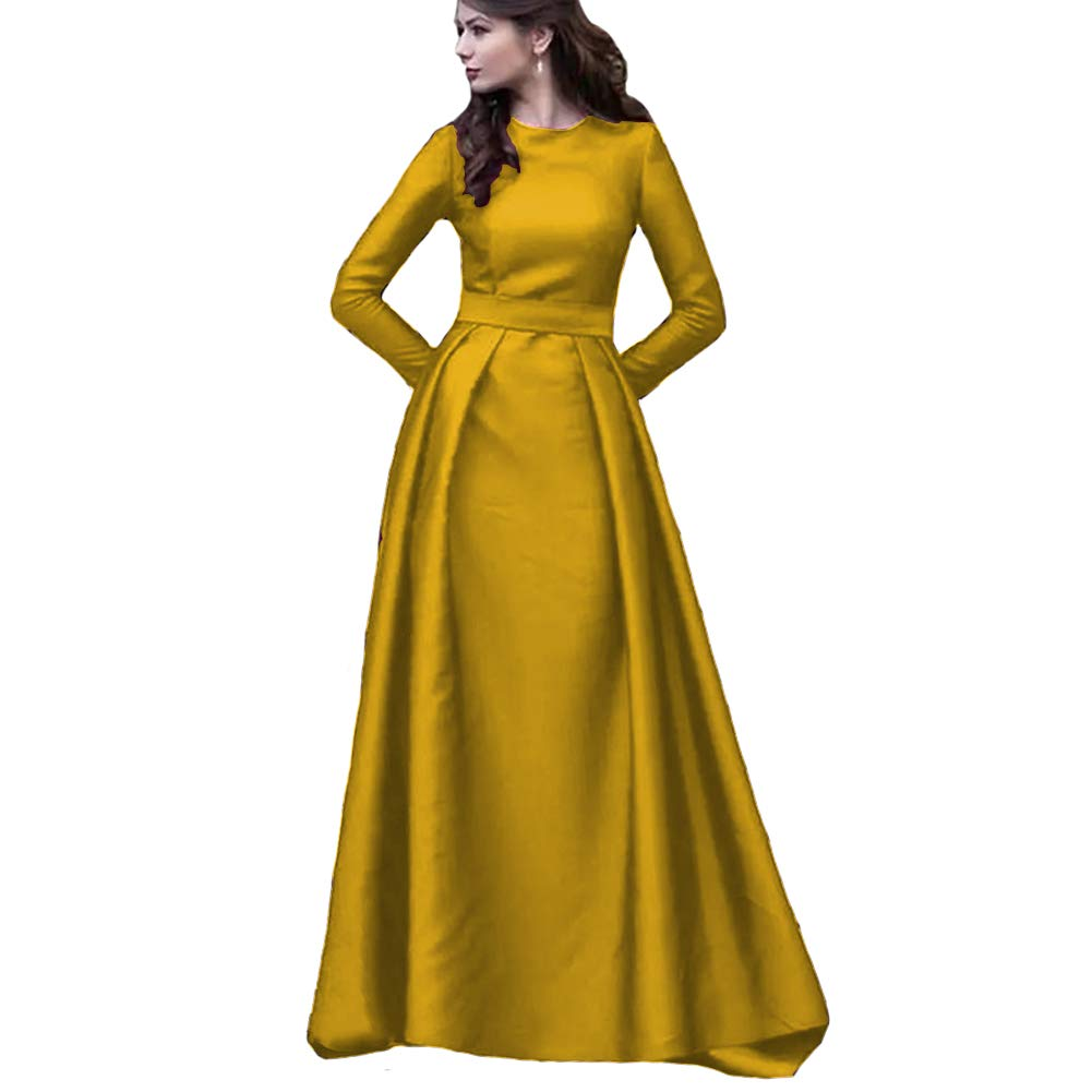 Yellow KaBuNi Women's Long Sleeve A line Wedding Dresses Formal Prom Dresses