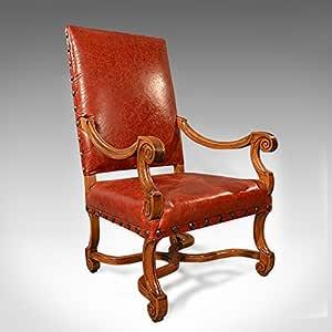 London Fine Antiques Gran Antiguo sillón de Piel, Estructura ...