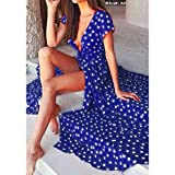 Women Long Dress Daoroka Sexy V-neck Polka Dot Print Spaghetti Split Boho Long Maxi Skirt Cocktail Casual Beach Dress (S, Blue)