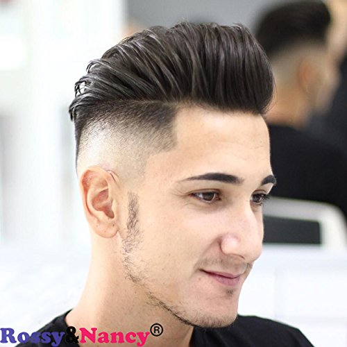 - Rossy&Nancy Best European Remy Human Hair Man Toupee Short Natural Black Replacement Hair Pieces Wigs for Men