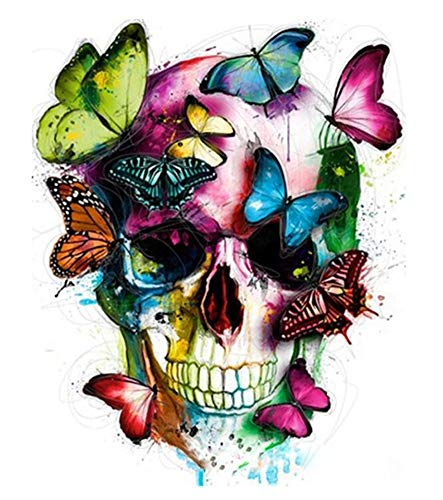 ABEUTY DIY Paint by Numbers for Adults Beginner - Butterflies Human Skull 16x20 inches Number Painting Anti Stress Toys (No Frame)