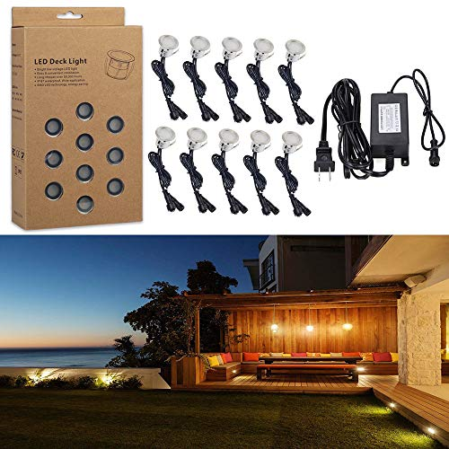 LED Deck Lighting Kits Bright Low Voltage IP67 waterproof Warm White for Recessed Deck Lamp Outdoor, Stairs, Garden, Yard, Patio, Home, Holiday Decor Landscape Decor In-ground Recessed(10pcs/set)