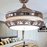 TiptonLight Modern Ceiling Fan With Remote Control 42 Inch Chandelier With Retractable Blades For Living Room And Bedroom-Metal And Acrylic Finish (42 Inch, Gold)
