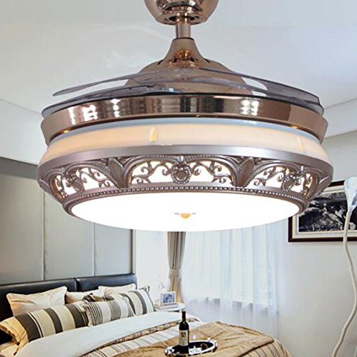 TiptonLight Modern Ceiling Fan With Remote Control 42 Inch Chandelier With Retractable Blades For Living Room And Bedroom-Metal And Acrylic Finish (42 Inch, (Gold Finish Ceiling Fans)