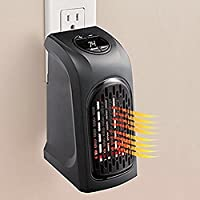 Wall-Outlet Electric Mini Fan, 350W Portable Space Heater Fan Black Warmer Fan for Room Home Office in Winter