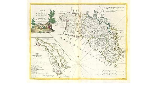 Isola di Minorca. Menorca. Inset Plan Mahon. ZATTA 1779 - Mapa Antiguo Vintage Impreso mapas de España: Amazon.es: Hogar