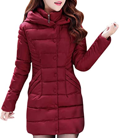 MODOQO Women's Parkas Jacket with Hood Winter Warm Thick Down Coat Overcoat  at Amazon Women's Clothing store