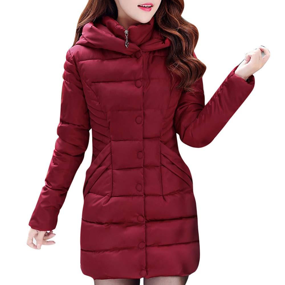 PENATE Women's Slim Down Jacket Winter Warm Solid Long Plush Hooded Cotton Coat