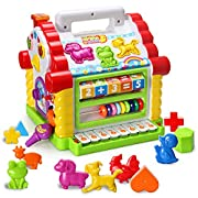 HOMOFY Baby Toys Colorful Musical Baby Little Fun House With Lights & Music,Multi Games, Animal and Geometric Blocks Learning Educational Toys For Girls,Boys,Toddlers and Babies