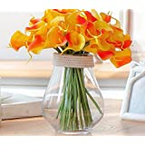 Situmi Artificial Fake Flowers Modern Style Glass Vases Calla Lily Orange Home Accessories