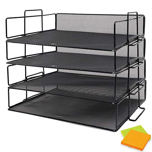 (JPSOR Stackable Letter Trays, 4 Pack Stackable Paper Trays, Black Mesh Desk Organizers with 2 Sticky Note Pads)
