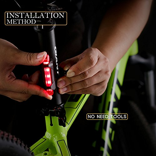 Outair USB Rechargeable Bicycle Light Front And Tail Set 5 LEDs 4 Modes Head Back Bike Flashing Safety Warning Lamp (Red&White) by Outair (Image #3)