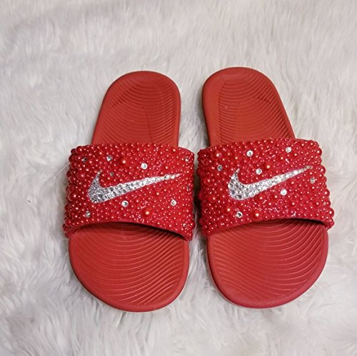 fd3a99e81c8 Amazon.com  NIKE SLIDES RED HOT  Handmade