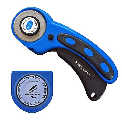 SBS Stoffschneider Rollschneider Professional Schnittrad d. 45 mm Blau + 5 Stück Ersatzklingen