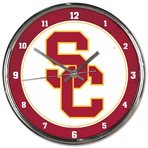 Wincraft Clock - Wincraft USC Trojans 12 inch Round Wall Clock Chrome Plated