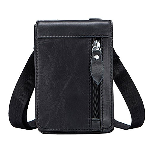 Men Crossbody Waist Pouch Bags Male Case Small Belt Leather Bag Packs Leg Phone Casual For Genuine Black 702 q61HFwt5xZ